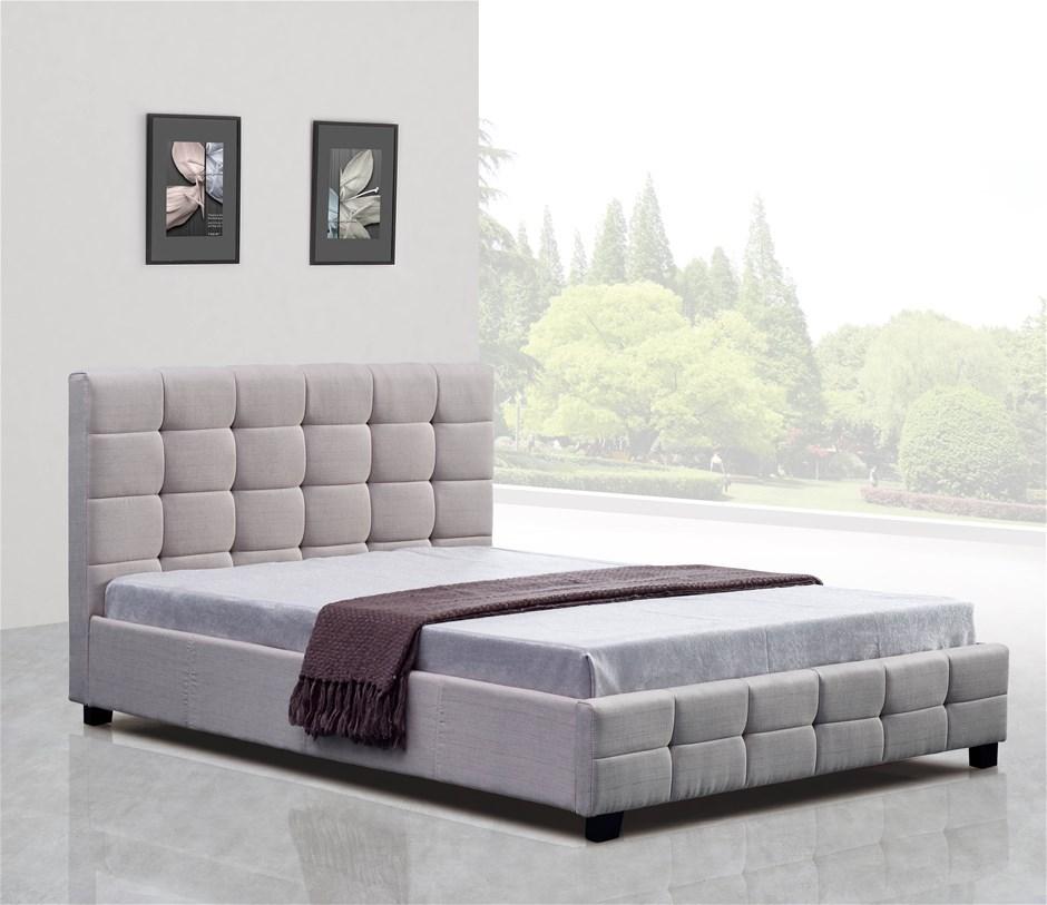Linen Fabric Queen Deluxe Bed Frame Beige