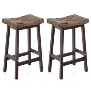 Buy Set Of 2 Seagrass Saddle Seat Bar Stools Chocola