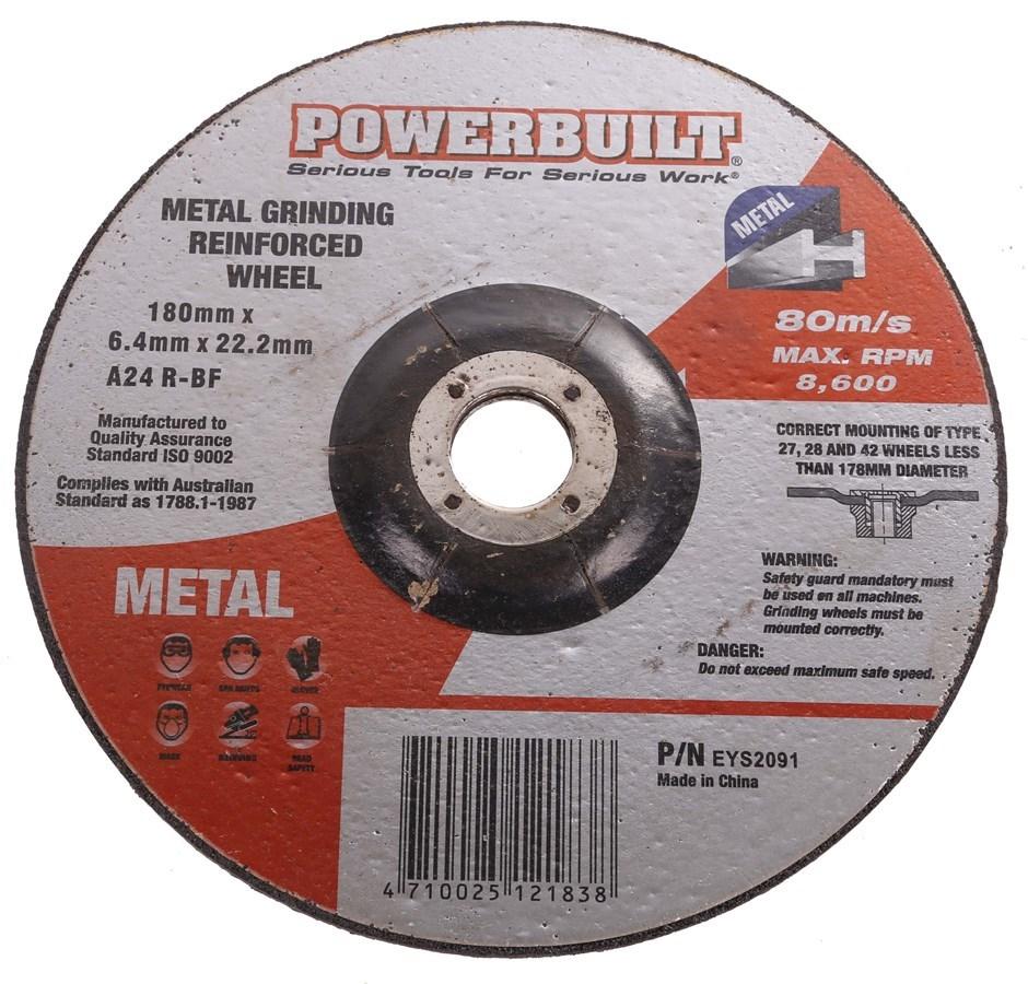 25 x POWERBUILT Grinding Discs, 180mm x 6.4mm x 22.2mm. Buyers Note - Disco