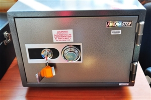 office safe firemaster with key and combination lock