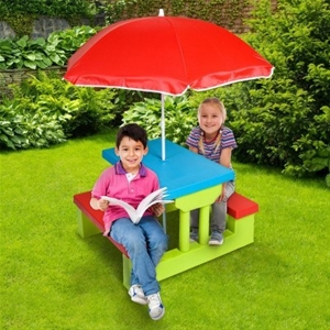 Buy kids outdoor table set with umbrella graysonline - Children s picnic table with umbrella ...